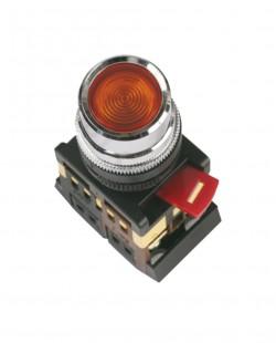 Buton cu semn.neon ABLFS22 220V 1nd+1ni (rosu)
