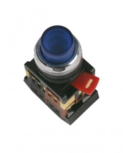 Buton cu semn.neon ABLFS22 220V 1nd+1ni (albastru)