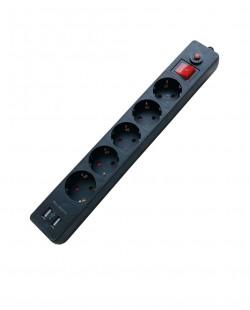 Priza bloc XH-EU05AK 5prize USB 2P+E 16A/250V