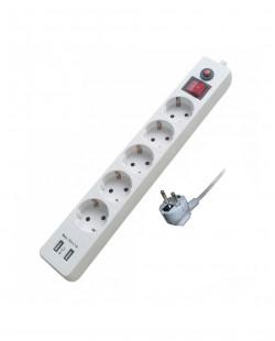 Prelungitor cu incarcator USB 5prize 2P+E 16A 2m