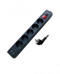Prelungitor cu incarcator USB 5prize 2P+E 16A 5m